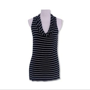 WHBM Women's Large Black + White Stripe Tunic